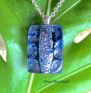 Custom Made Fused Glass Pendant With Sterling Silver Bail And Chain - Twilight Violet