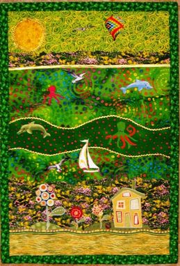 "Custom Made Quilted Landscape Wall Hanging - ""Spring"""
