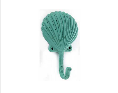 Custom Made Turquoise Cast Iron Seashell Hook