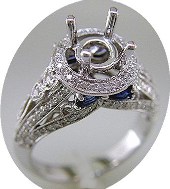 Custom Made 1.30 Carat Diamond And Sapphire Engagement Ring