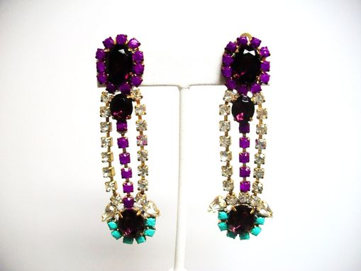 "Custom Made Purple Rhinestone Earrings ""Jolie''"