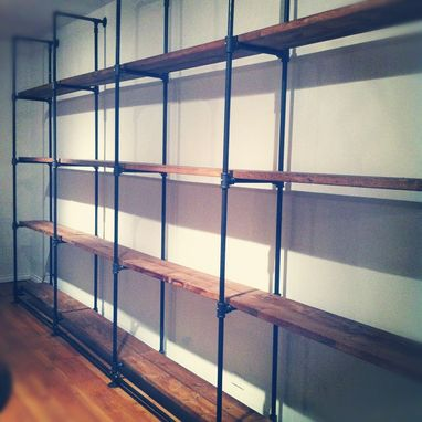 Custom Made Custom-Sized Industrial Pipe And Reclaimed Wood Shelving