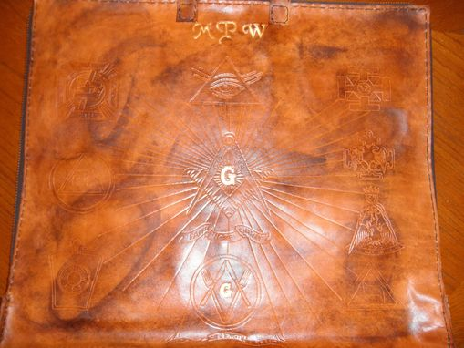 Custom Made Custom Leather Mason Apron Case With Clients Masonic Design In Weathered Color