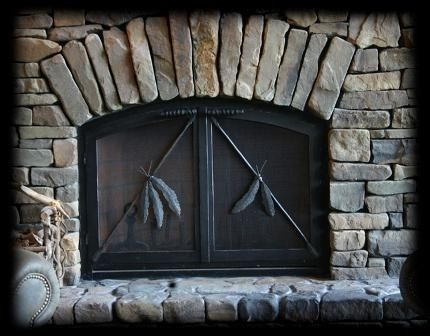 Custom Made Custom Fireplace Screen With Indian Feathers