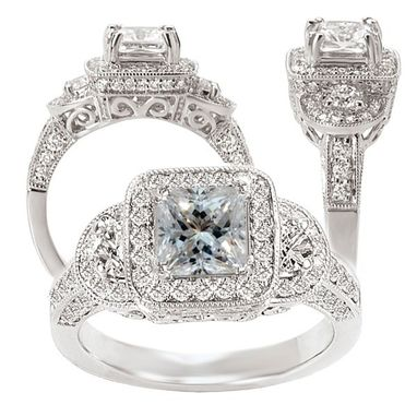 Custom Made 18k White Gold Diamond Engagement Ring Semi-Mount