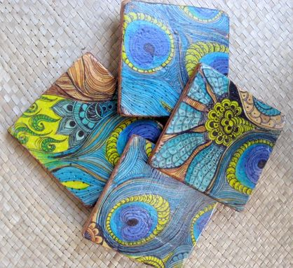 Custom Made Tile Peacock Coasters Handmade-Set Of 4 Blue Green Brown By Devikasart