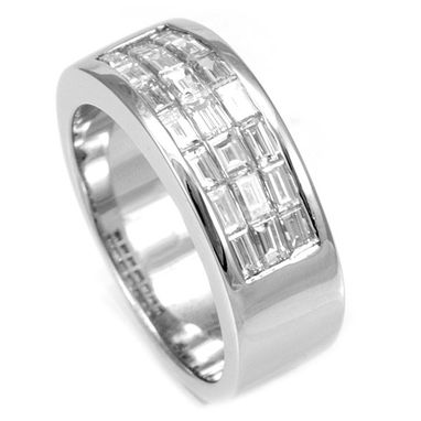 Custom Made Baguette Diamond Band In 14k White Gold, Ladies Band, Wedding Band