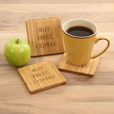 Custom Made But First, Coffee - Bamboo Coasters - Set Of 4