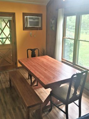Custom Made Rustic Farmhouse Trestle Farm Butcher Block Style Dining Table