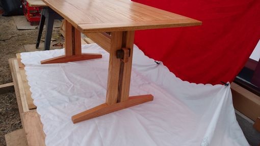Custom Made Solid Oak Trestle Table With Hickory Accent