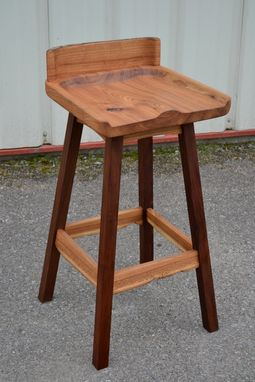 Custom Made Live Edge Elm And Walnut Bar Stool With Swivel Seat