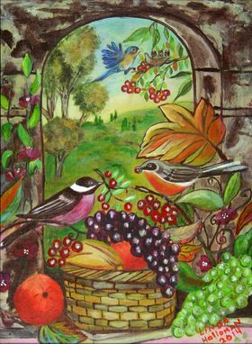 Custom Made Garden Birds With Fruit Triptic