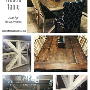 custom trestle farmhouse dining room kitchen table hand made live edge pine douglas fur stained - Farmhouse Kitchen Table