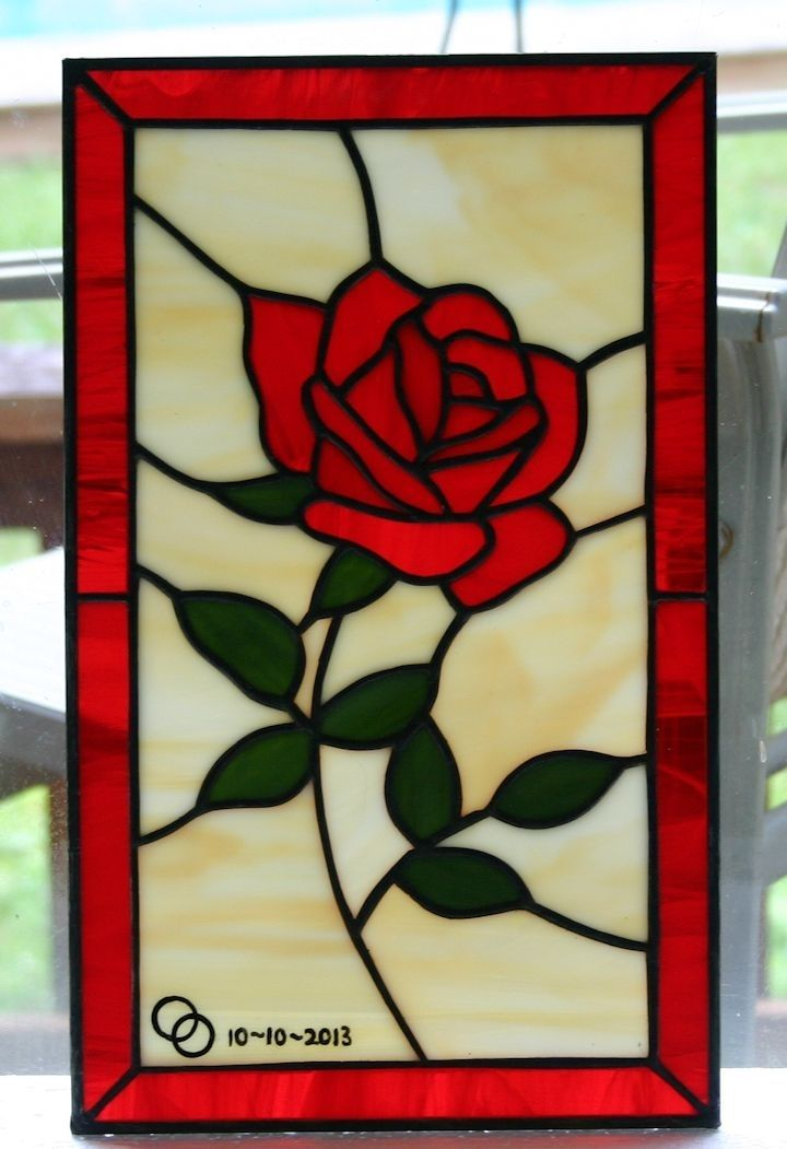 hand made little rose stained glass panel by a glass. Black Bedroom Furniture Sets. Home Design Ideas