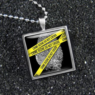 Custom Made Csi Crime Scene Finger-Printl Sterling Silver Necklace 146-Ssn