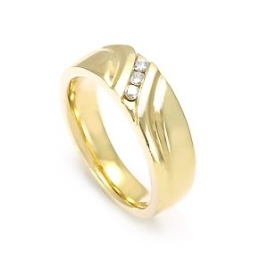 Custom Made Men's Diamond Wedding Band In 14k Yellow Gold, 3 Diamond Band, Wedding Band