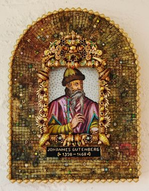 Custom Made Johannes Gutenberg, Mixed Media Decorative Icon