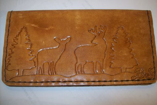 Custom Made Custom Leather Checkbook Cover With Deer And Trees