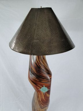 Custom Made Reclaimed Cedar Floor Lamp With Turquoise Inlay And Hammered Tin Lampshade.