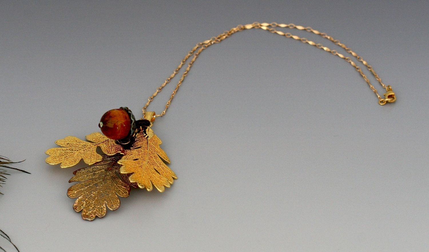 Gold And Copper : Handmade rowen gold and copper electroplate oak leaves with