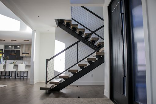 Hand Made Steel I Beam Mono Stringer Stairs By Industrial