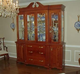 Cherry Hutch With Mirrors Gl Shelves And Lighting