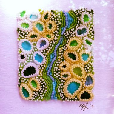 Custom Made Seed Bead Embroidered Tide Pools