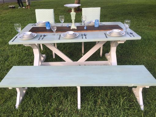 Custom Made Ocean Inspired Trestle Table And Seating