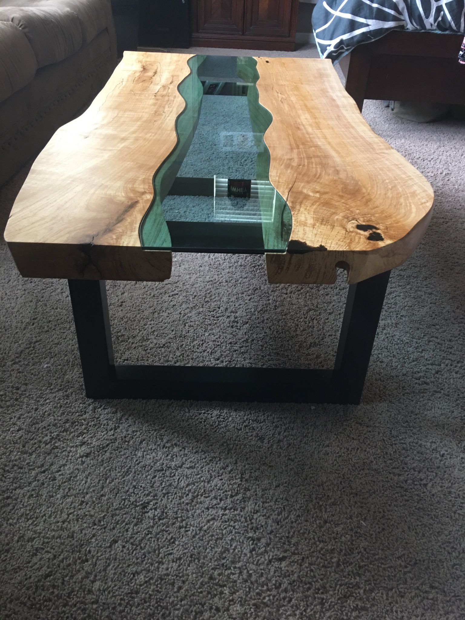 Buy A Handmade Live Edge Coffee Table Glass Inlay Made To