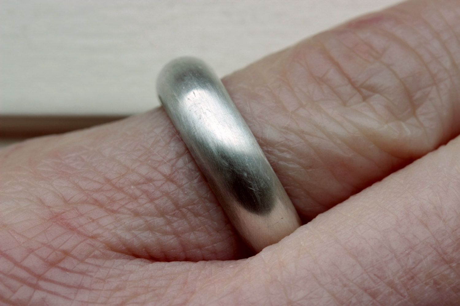custom made black sterling silver mens wedding band