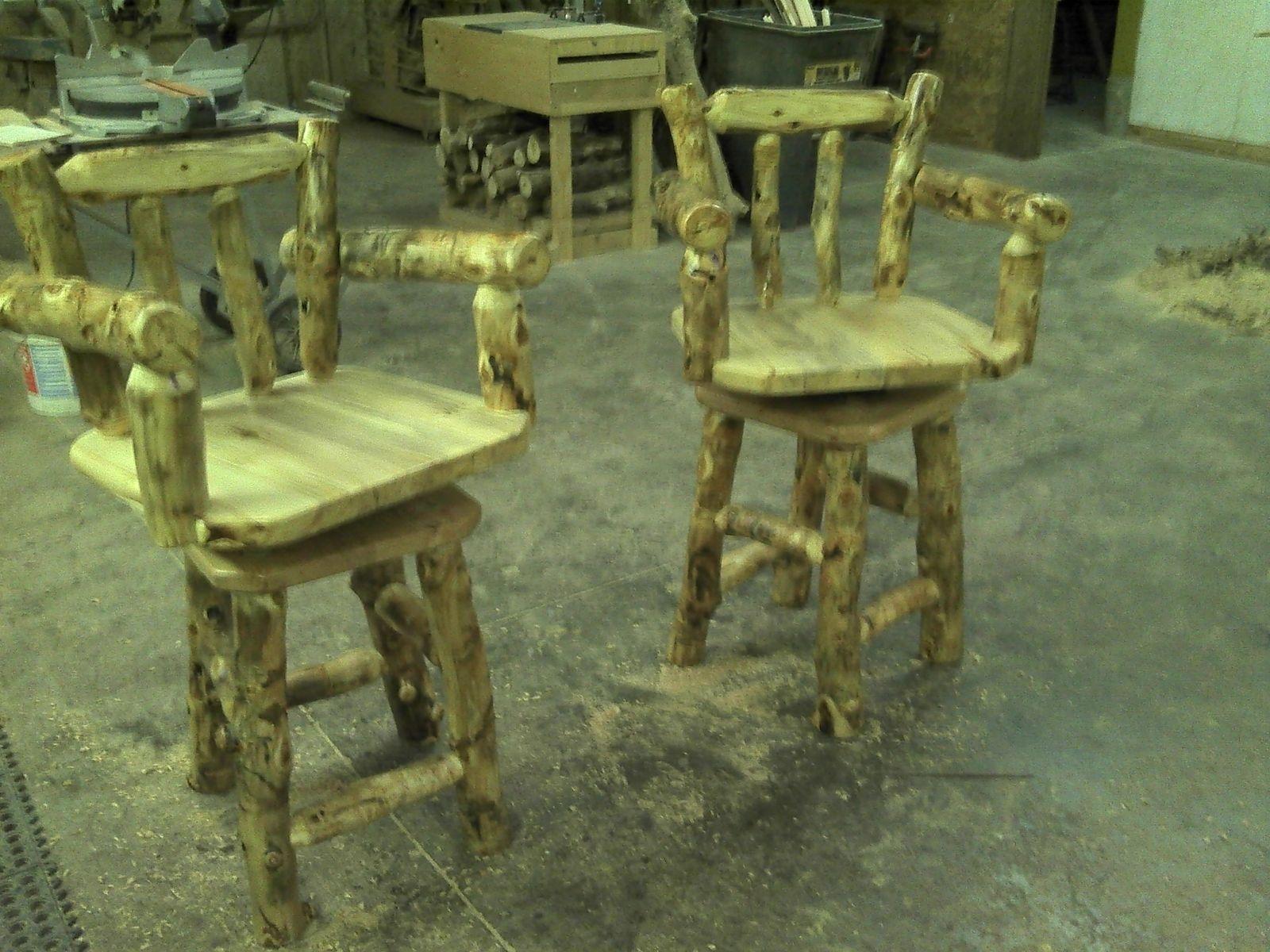 Hand Made Custom Rustic Log And Reclaimed Barn Wood Bar Stools by