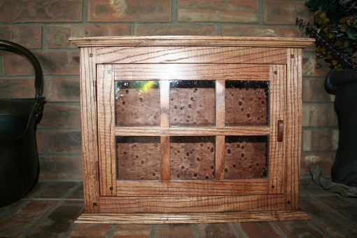 Custom Made Small Ash Curio Cabinet With Rain Glass