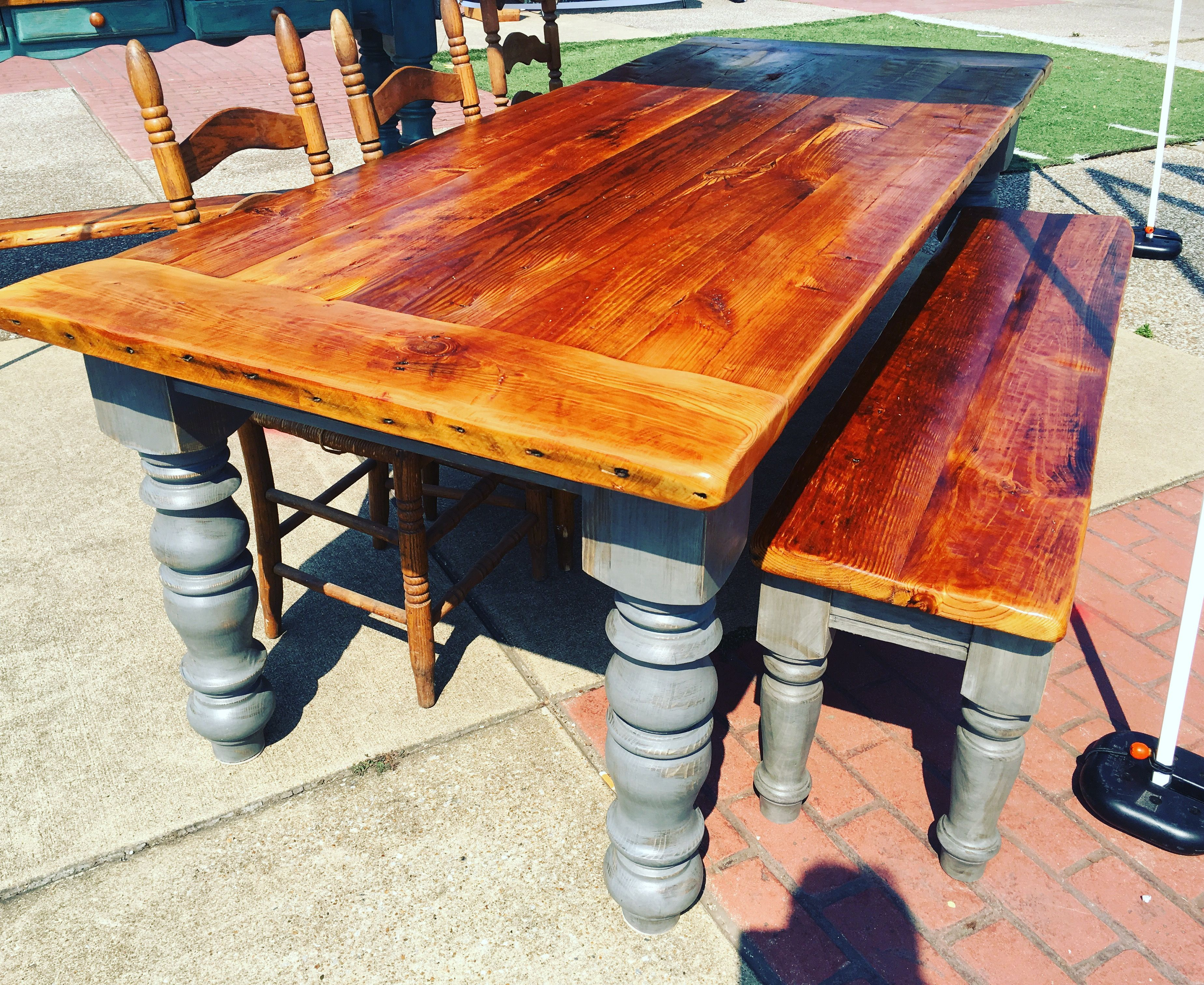 8 Foot Antique Heart Pine Table