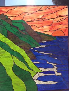 Custom Made Hawaiian Coastline Stained Glass Window