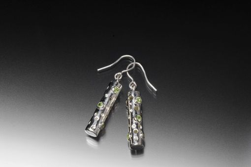 Custom Made Tube Earrings With Drilled Holes And 12 Peridot Gemstones From The Luna Collection