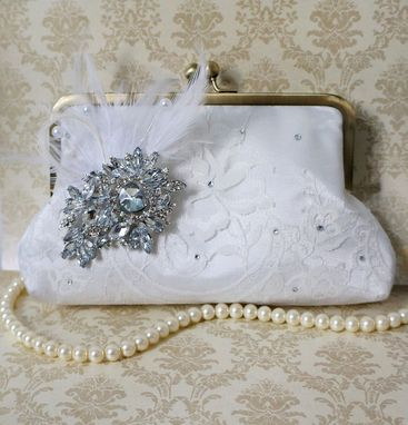 Custom Made Victorian-Inspired Lace Clutch Purse With Feathers And Crystal Brooch