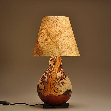 Hand Crafted Gourd Lamp Seasonal Tree Design By Gourgeous