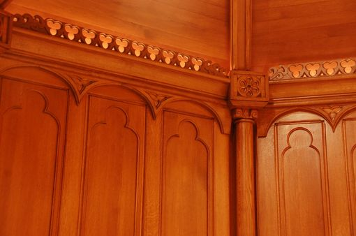 Custom Made Hand Carved Gothic Chapel In Quartersawn White Oak