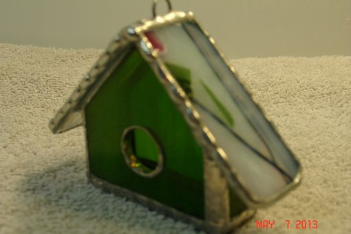 Custom Made Empty Nest Bird House Ornament In Bright Green With Pink, Green And White Roo