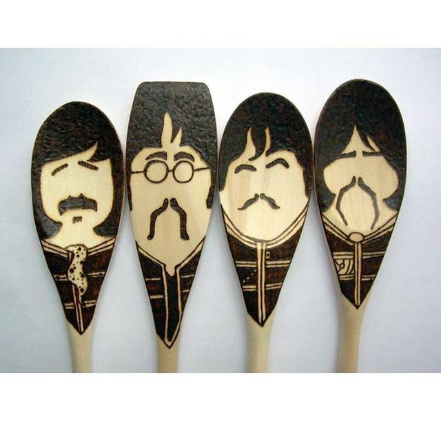 Handmade Sgt. Pepper Moustache Spoons - Wooden - Set Of 4 Beatles by Treehouse Illustrator | CustomMade.com