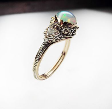 Custom Made Opal Diamond Dream Ring - In 14k Rose & White Gold