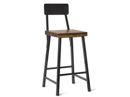"Custom Made 25"" Square Metal Bar Stool With Back"