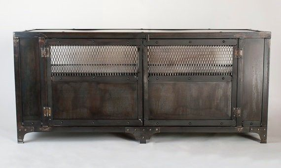 industrial media furniture vintage metal tool custom made industrial media cabinet tv stand entertainment center console table accent hand crafted