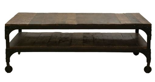 Custom Made Industrial Vintage Wood And Iron Coffee Table