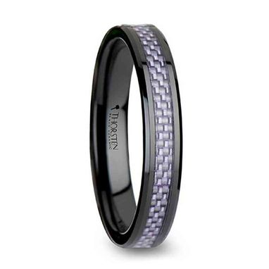 Custom Made Lilac Beveled Black Ceramic Ring With Purple Carbon Fiber Inlay - 4mm & 6mm