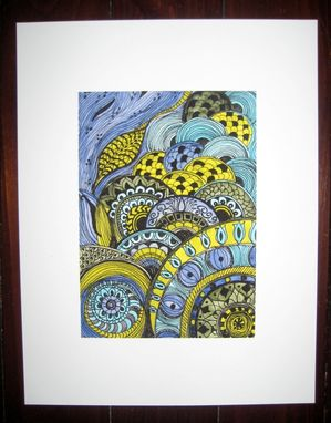 Custom Made Fine Art Print -Lime Green Blue Ink And Acrylic Painting