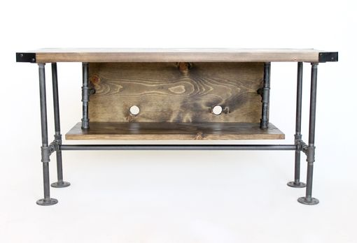 Custom Made Rustic Tv Console With Shelf, Industrial Style, Ships From Detroit, Michigan