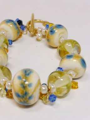 Custom Made Lampwork Ivory, Gold And Delft Blue Rondelle Bracelet