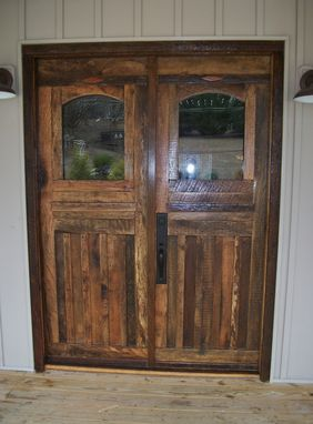 Hand crafted barn wood front doors and interior door by for Wooden front doors fitted
