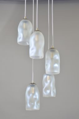 Custom Made Iridescent Asymmetrical Hand Blown Shades For Pendants Or Chandeliers